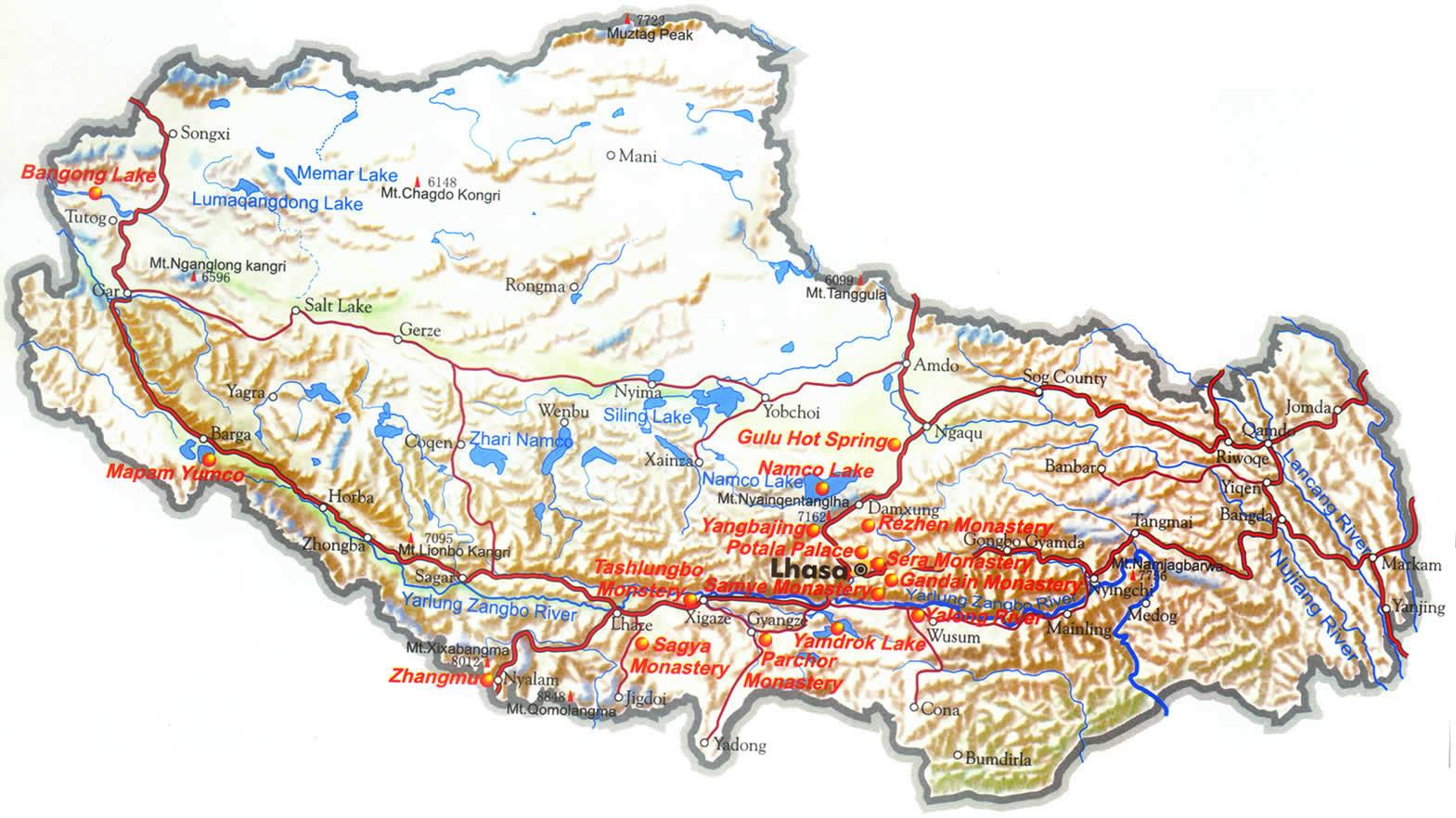 Mapa Turistico do Tibete