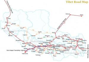 Mapa de Estradas Tibete