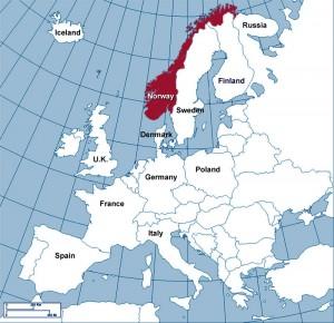 Mapa da Noruega na Europa