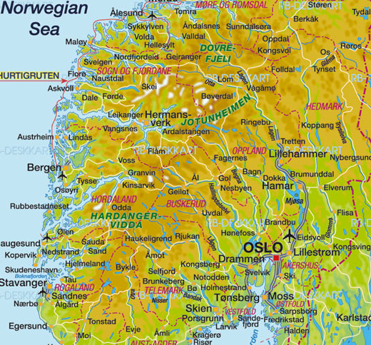Mapa do Sul da Noruega