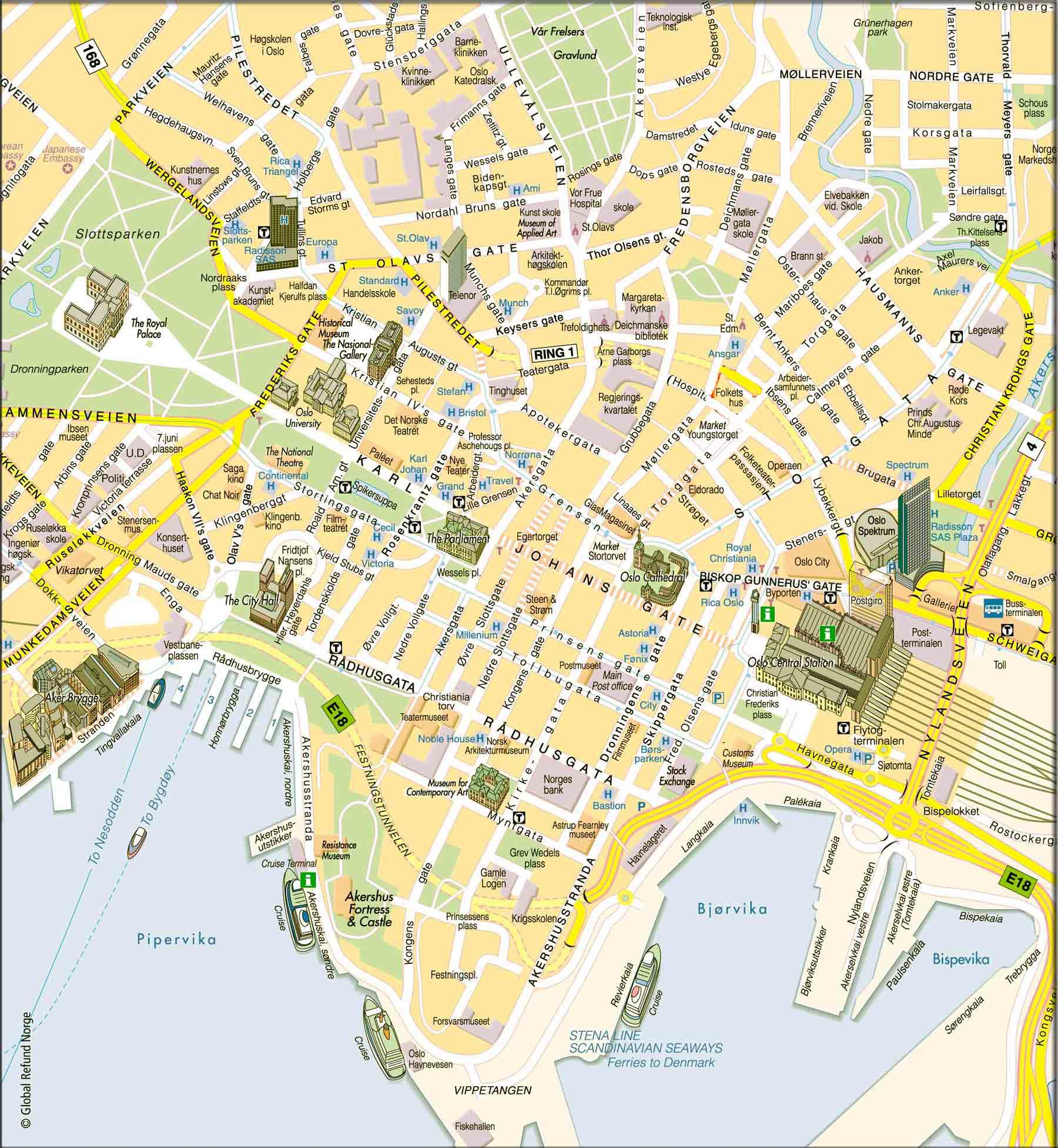 Mapa Turístico de Oslo, Noruega