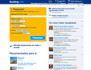 Site para encontrar hoteis - booking.com