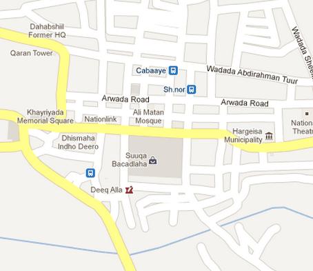 Mapa de Hargeisa, Somalilandia