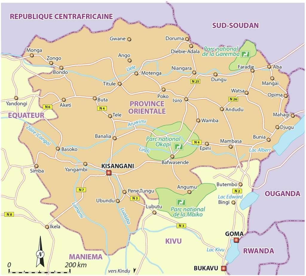Estradas na Province Oriental, República Democrática do Congo 1