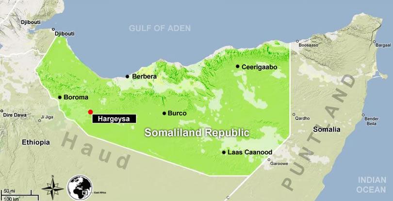 Mapa da Republica da Somalilandia