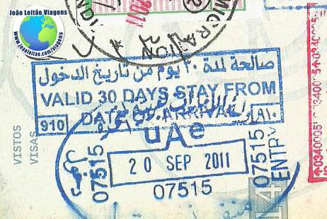 Carimbo Emirados Arabes (valid 30 days)