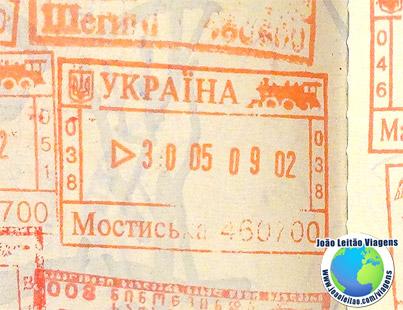 Carimbo Ucrania (vermelho/comboio)