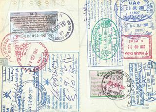 Carimbos no passaporte