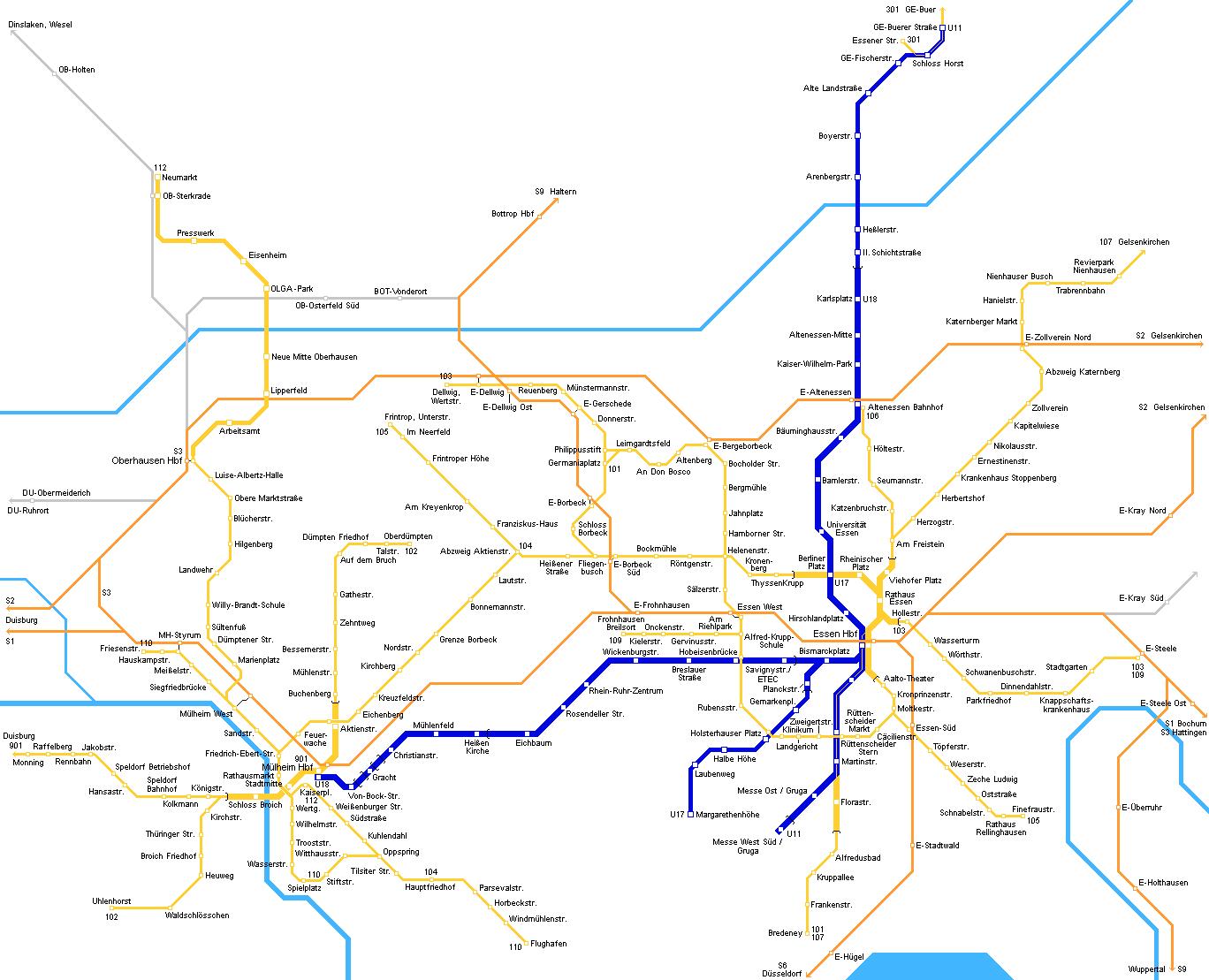 Mapa Metro Essen, Alemanha 2