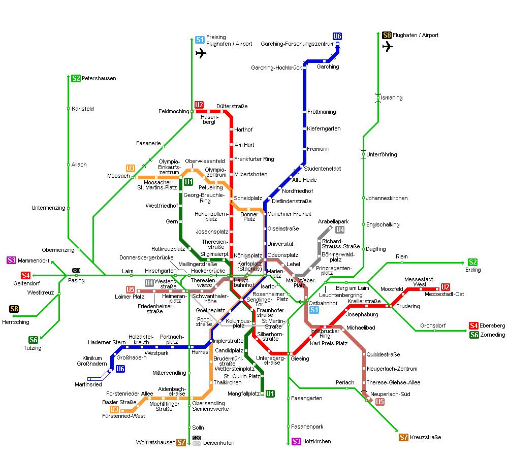 Mapa Metro Munique, Alemanha 2