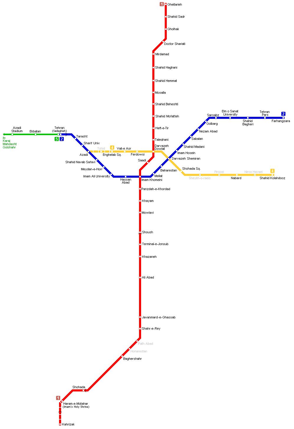 Mapa Metro Teerao Irao