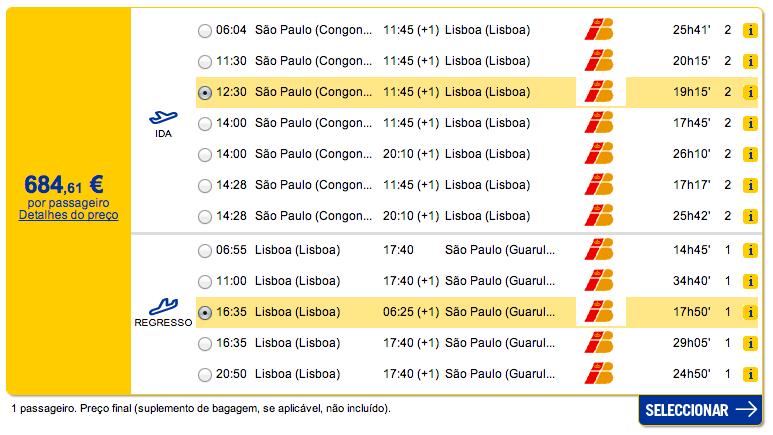 Bilhete aviao Sao Paulo Lisboa em Portugal
