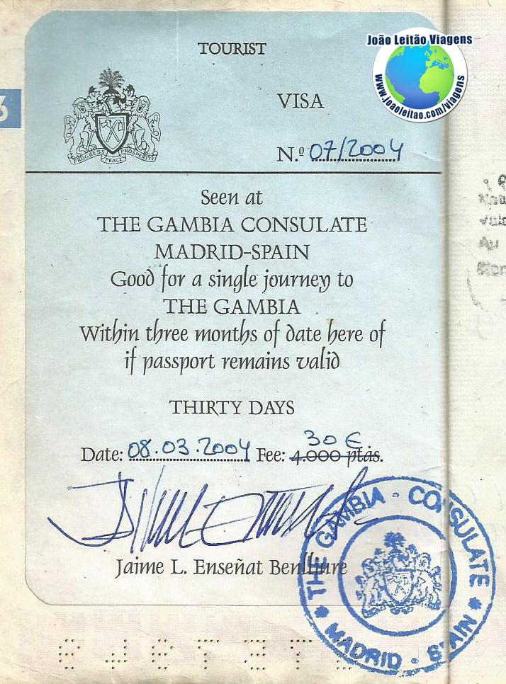 Visto Gambia (embaixada em Madrid)