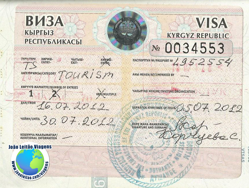 Visto Quirguistao (embaixada Dushambe)