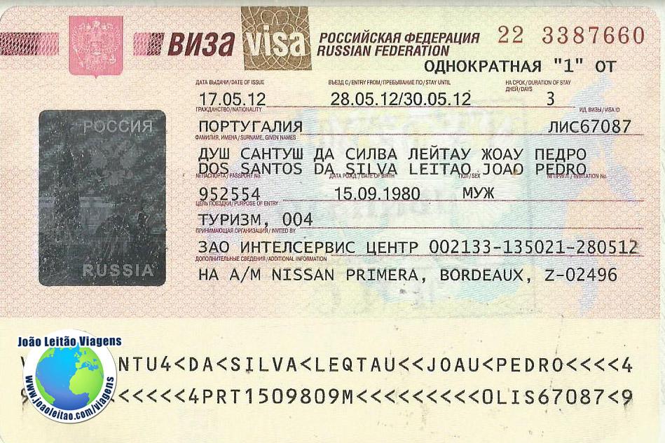 Visto Russia (embaixada Lisboa)
