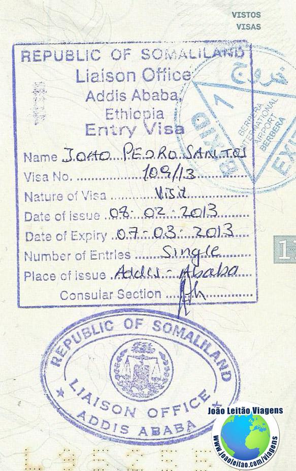 Visto Somalilandia (embaixada em Addis Ababa)
