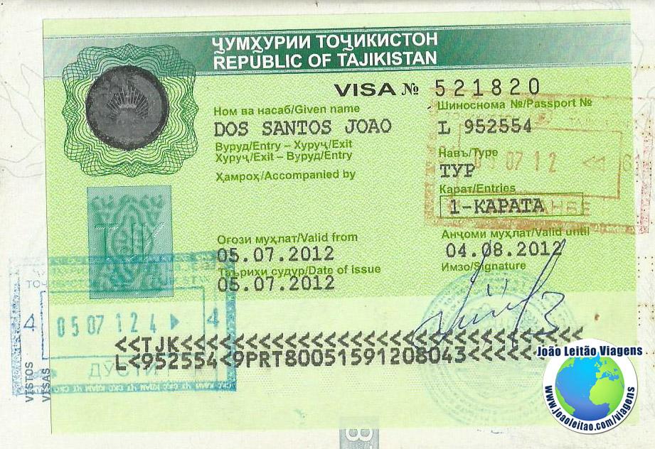 Visto Tajiquistao (embaixada Viena)