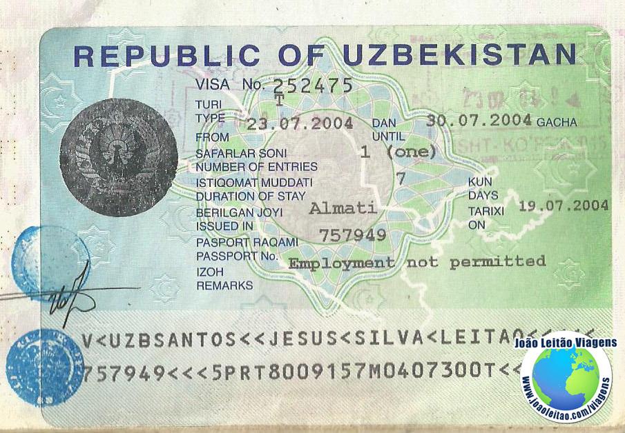Visto Uzbequistao (embaixada Almaty)