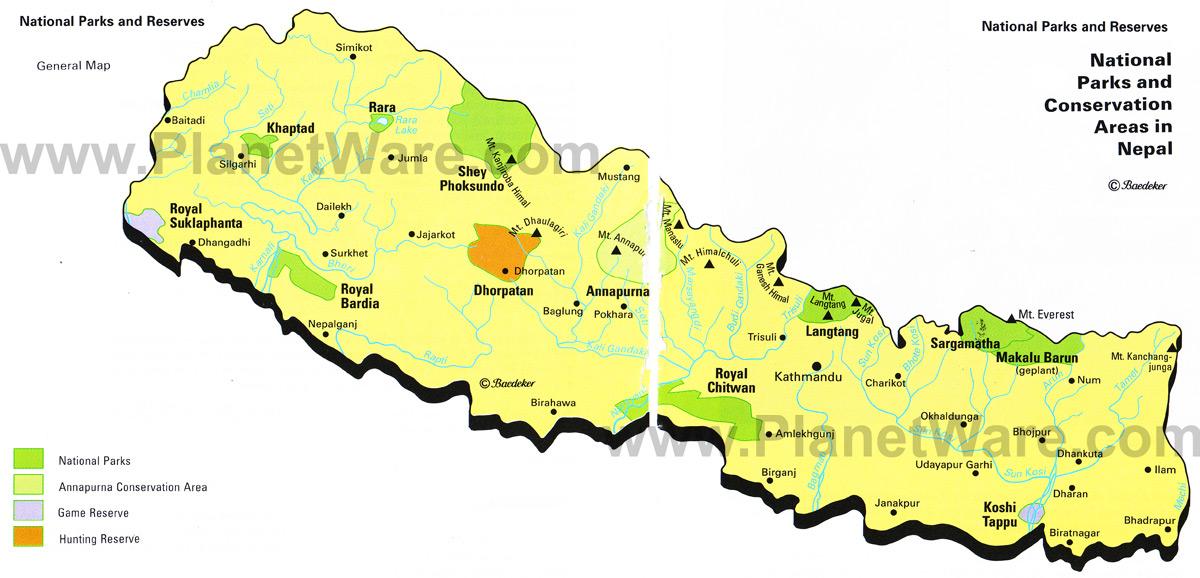 Mapa Parques Naturais no Nepal 2