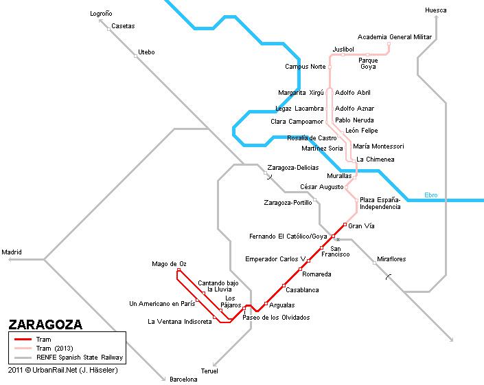 Mapas Transportes em Saragoça, Espanha 1