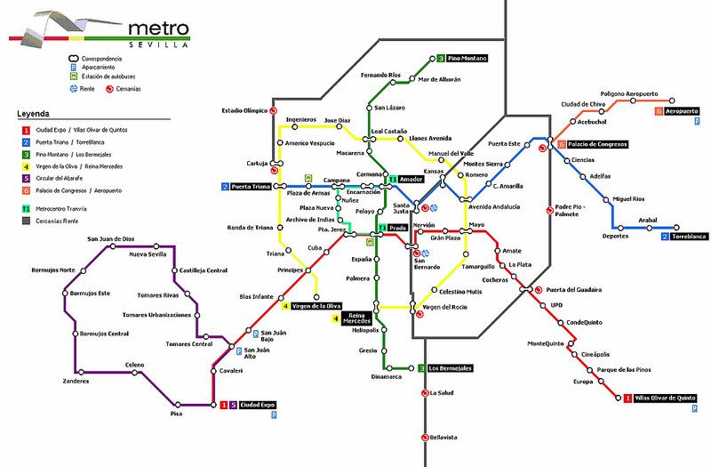 Mapas Transportes em Sevilha 3