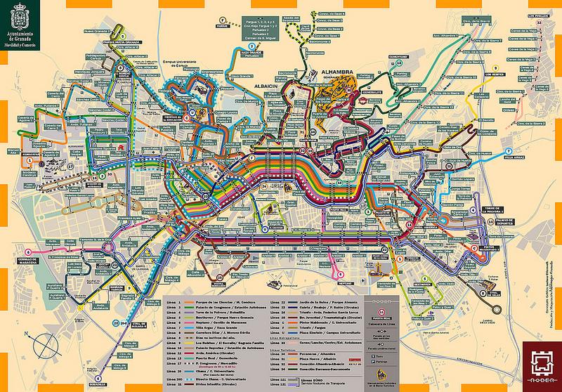 Mapas Transportes em Granada 1