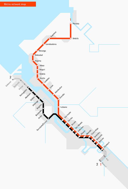 Mapas Transportes em Bilbau, Espanha 2