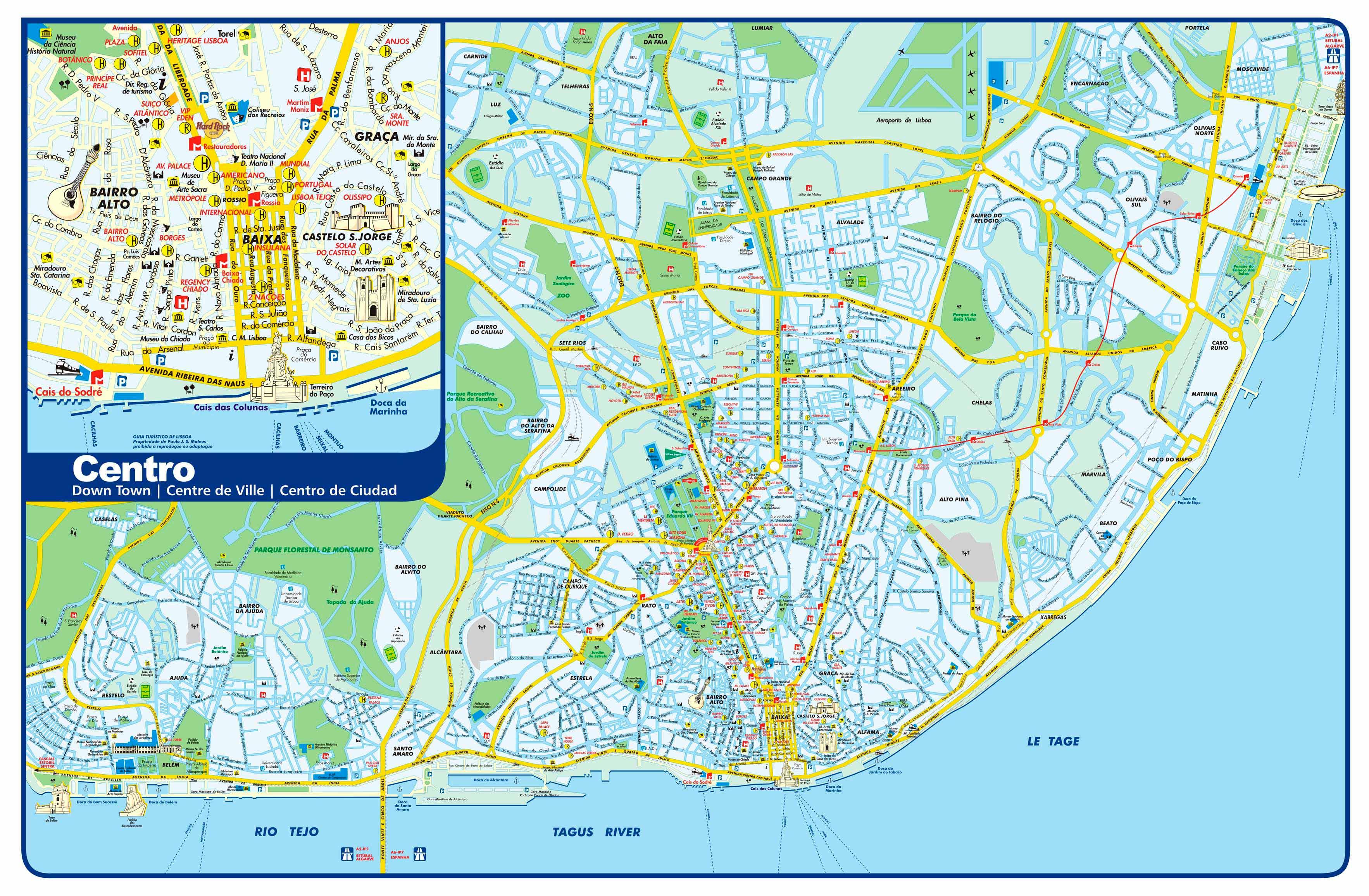 Mapa de Monumentos em Lisboa, capital de Portugal 8