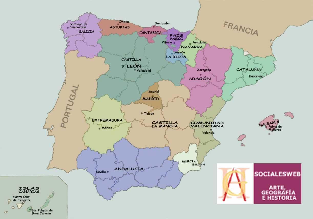 Mapas das Regiões e Comunidades Autónomas de Espanha 1