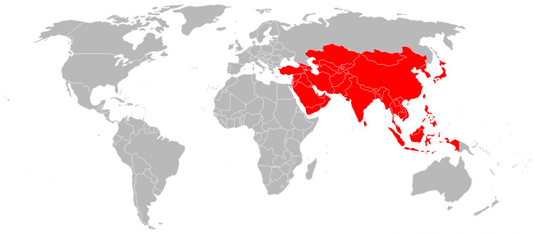 Map of Asia - the Asian continent