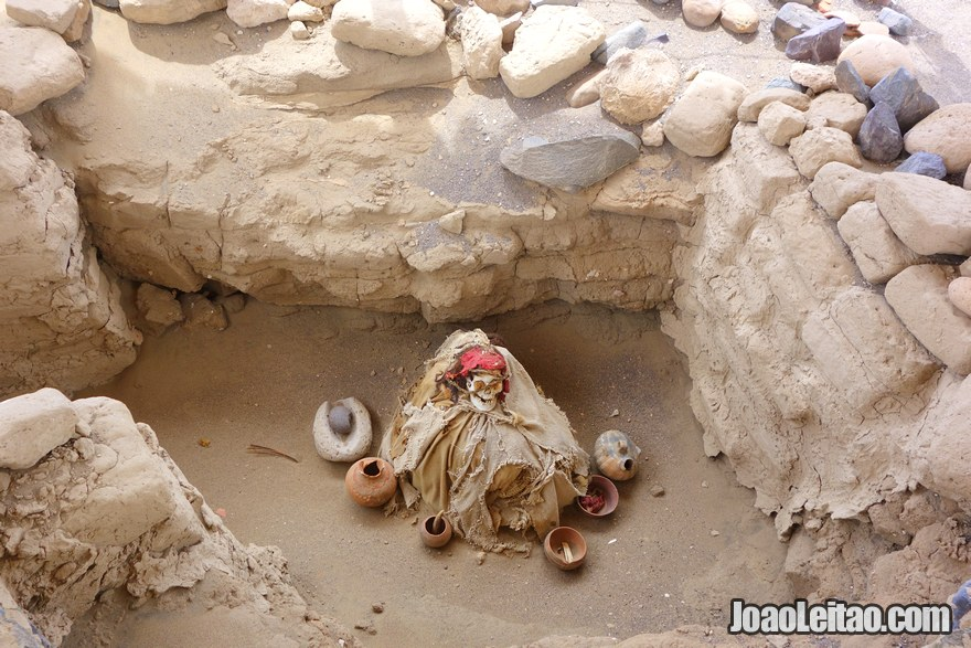 Pre-Hispanic mummified human bodies of Chauchilla Cemetery