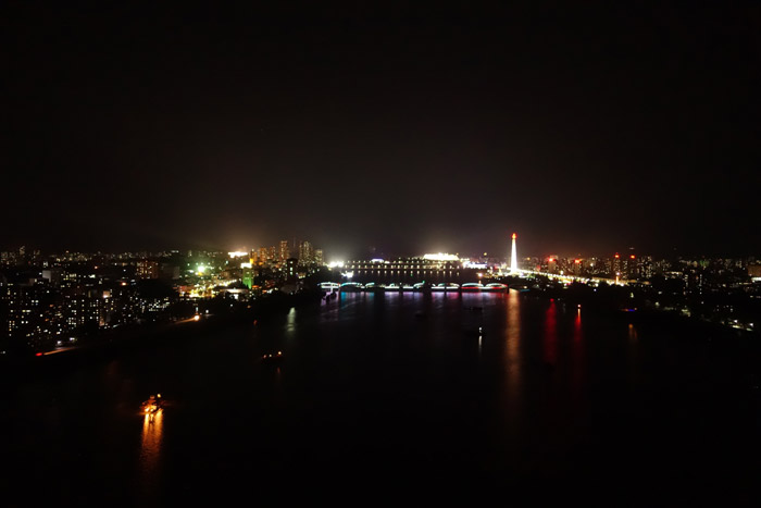 Vista de Pyongyang da janela do meu quarto de hotel no 29º andar