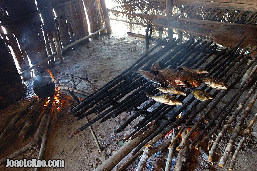 Preparando peixe grelhado no lume