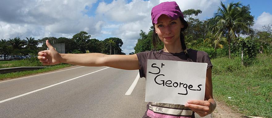 À boleia (carona) na Guiana Francesa - América do Sul