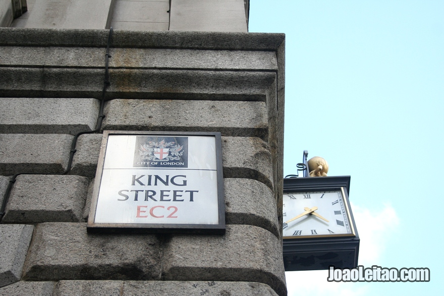 Placa da rua londrina King Street