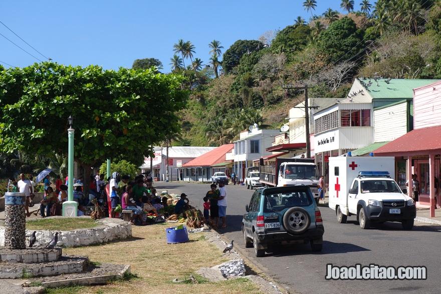 Rua da cidade colonial de Levuka nas Ilhas Fiji