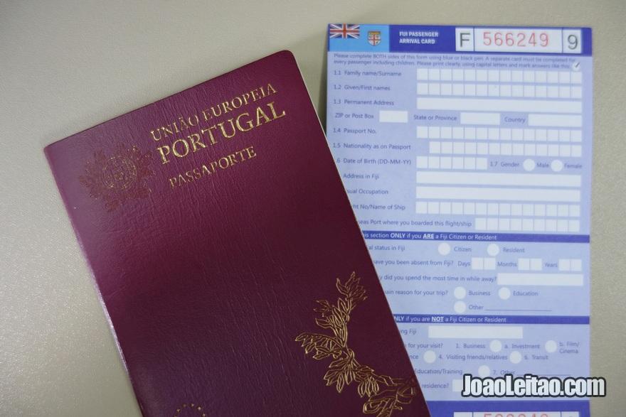 Passaporte para preencher o visto grátis das Fiji