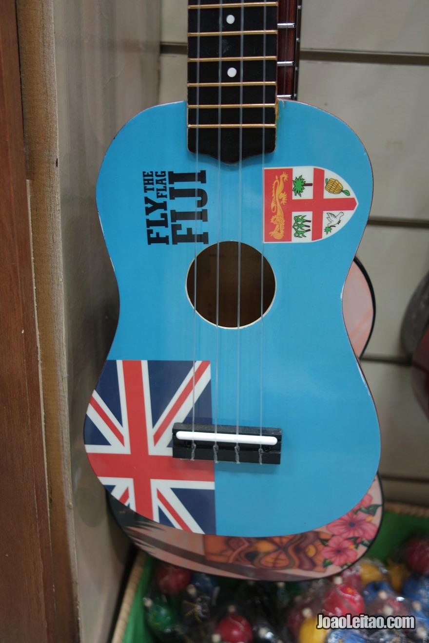 Comprar uma guitarra fijiana com a bandeira das Ilhas Fiji