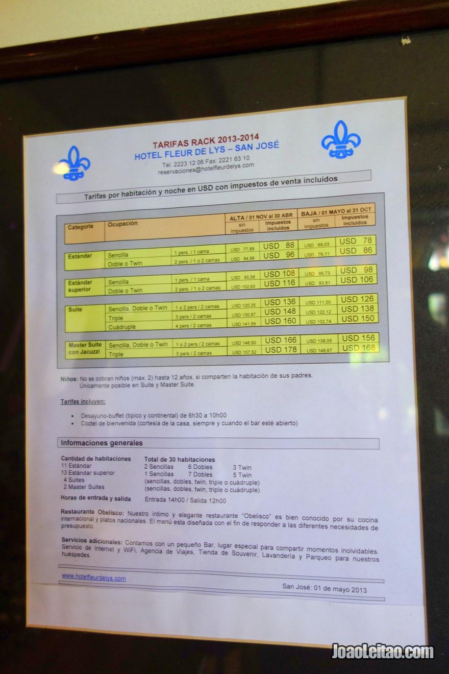 Preços do Hotel Fleur de Lys em San José, Costa Rica