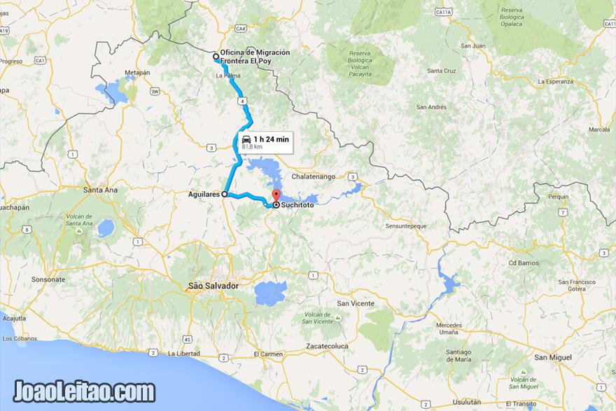 Mapa do transporte até Sochitoto desde a fronteira El Salvador e Honduras