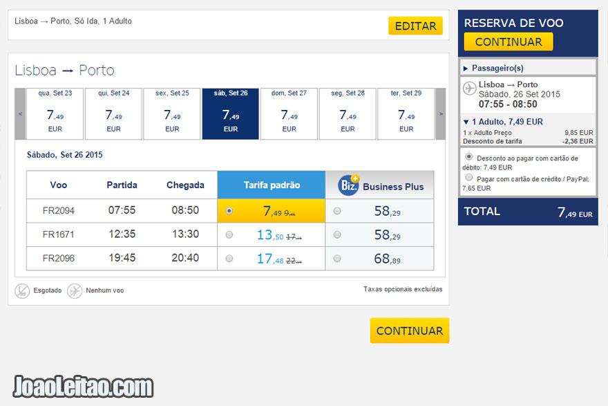 Avião Lisboa Porto 7 Euros - Ryanair Lowcost