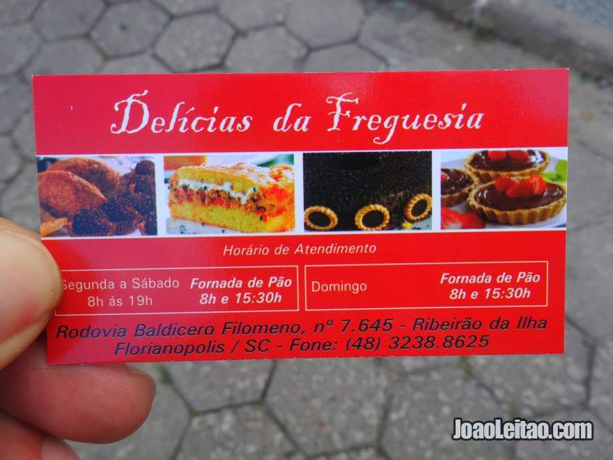 Cartão de visita da Pastelaria Delícias da Freguesia