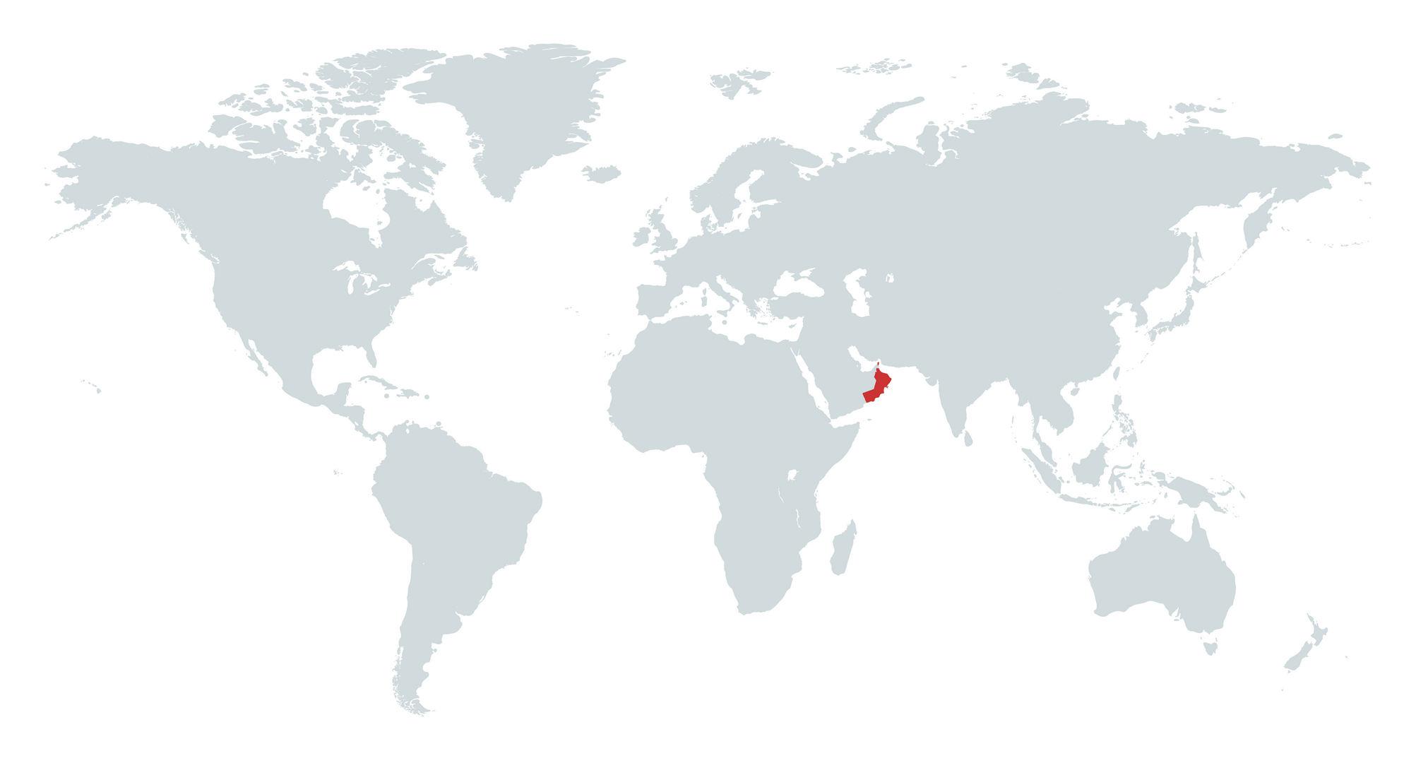 Mapa de Omã no Mundo