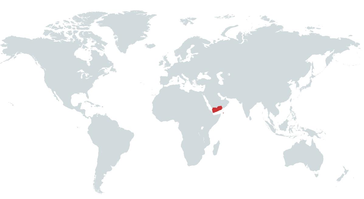 Mapa do Iémen no Mundo
