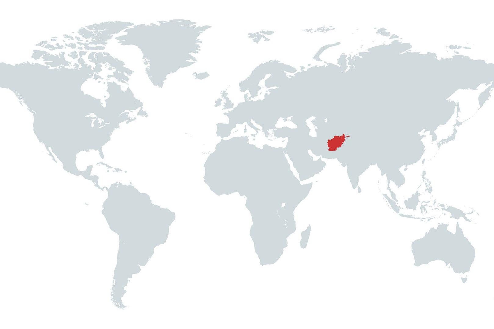 Mapa do Afeganistão no Mundo