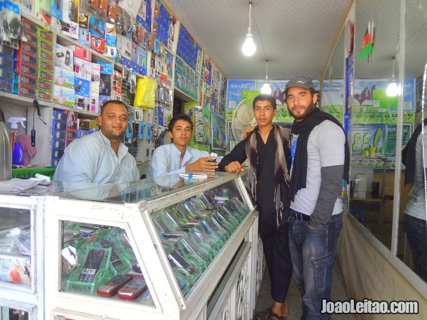 Guys from the phone shop in Baghlan where I bought my Afghan phone SIM card