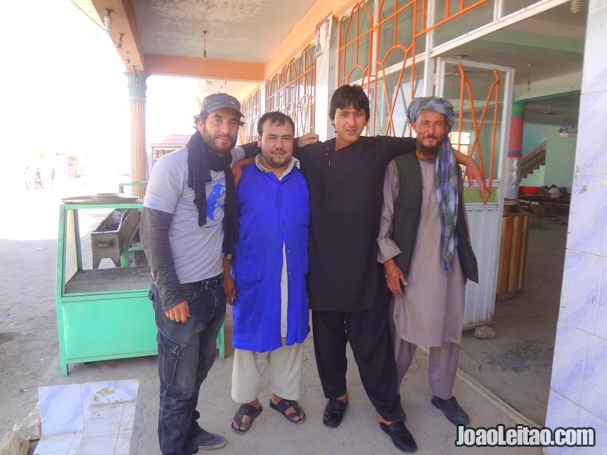 Guys from a restaurante on the road to Mazar