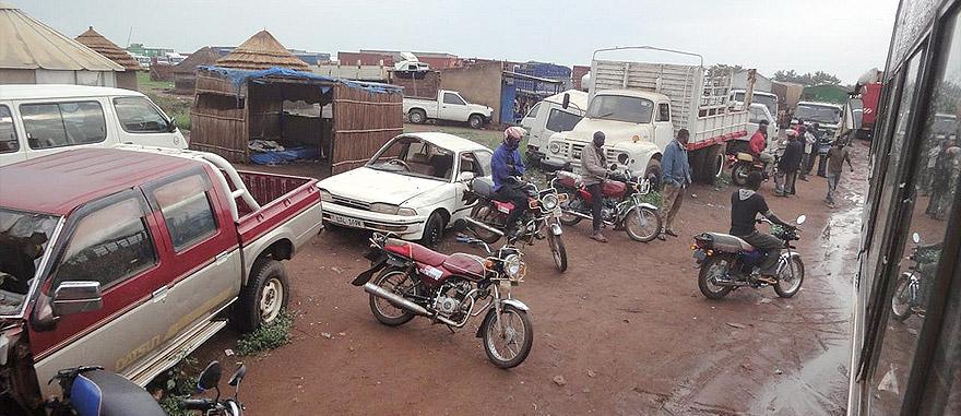 Border Uganda and South Sudan from bus window