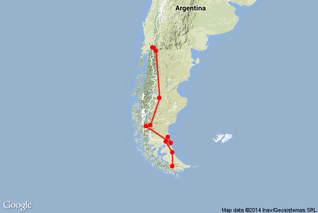 Map of route in Argentina