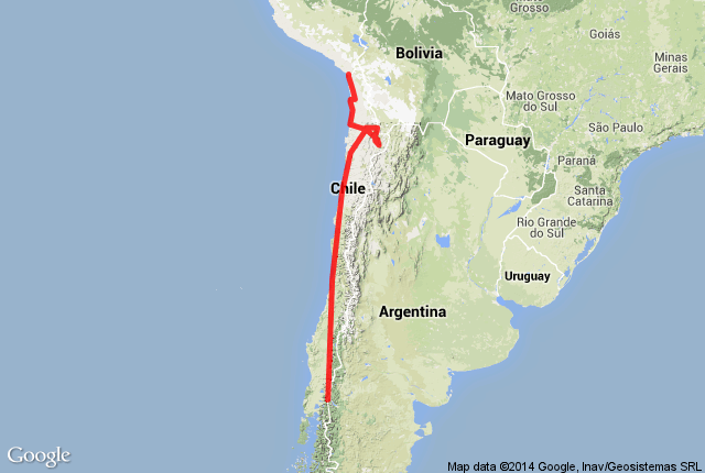 Map of route in Chile